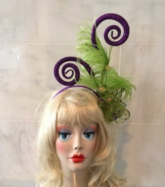"""Parade"" in a whimiscal Mardi Gras Headband."