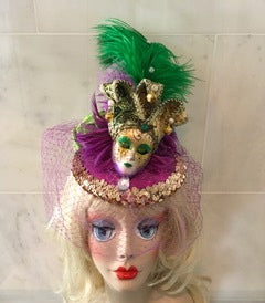 """Masquerade Jester"" fascinator will be perfect for those Mardi Gras luncheons."