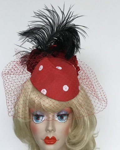 """STAR"" RED Silk Polka Dot Hat with red silk roses, veiling & feathers"