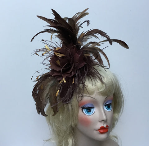 """FLORENCE"" Beautiful Brown feather flower fascinator"