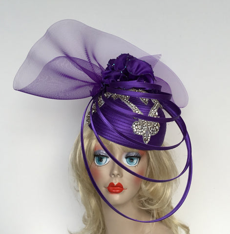 """EVELYN""  Purple Ringed hat with rhinestone appliqué"