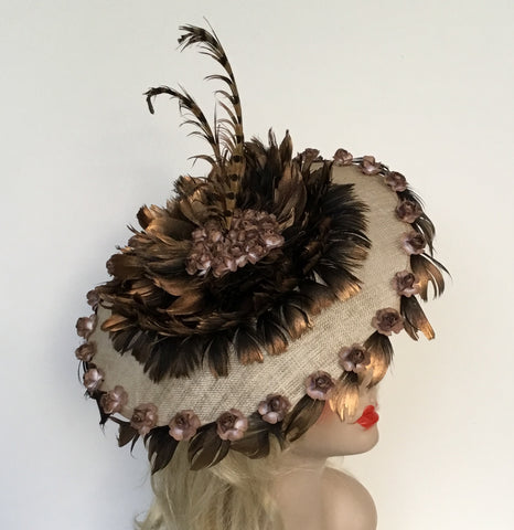 """DIANE"" Beautiful beige saucer hat with bronze feathers"