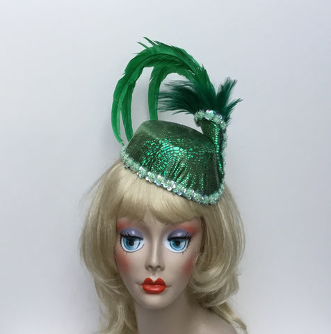 """PATTY"" Sassy Couture Green Iridescent Stewardess Pillbox Hat"