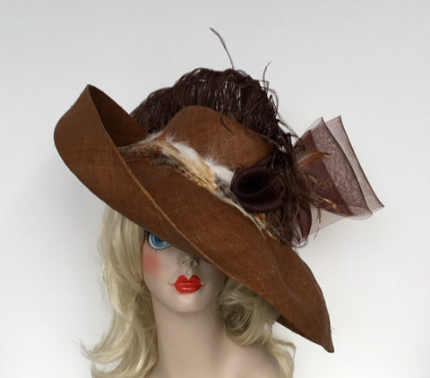 """FRANCIS"" Floppy brown straw hat with coque and ostrich feathers"