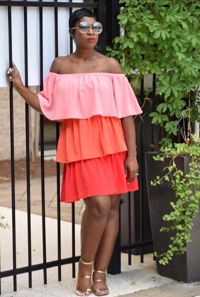 Coral Tiered Dress (Size Small)