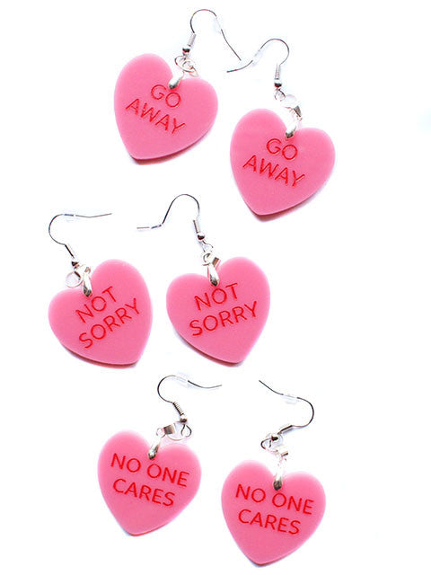 Rude Hate Hearts Dangle Earrings