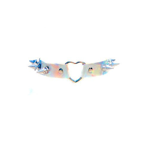Spiked Faux Leather Holographic Chocker