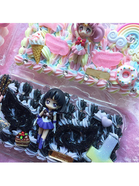 (Ready To Ship)Sailormoon Decoden New 3DS Cases/Sailor Chibiusa and Sailor saturn/Sailor Moon case