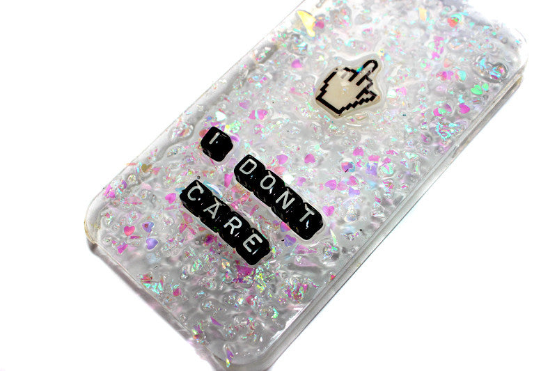 I Don't Care Phone Case with Middle Finger Cursor