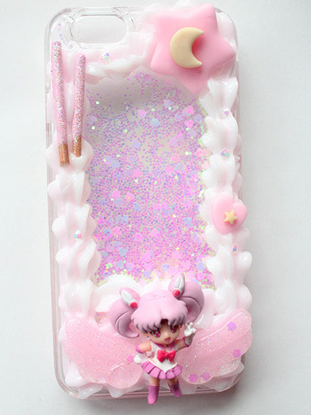 (Ready To Ship) 2 Tone Whip Frame Decoden IPhone 6 /Chibiusa Framed Glitter Liquid Phone case/Sailor Moon case