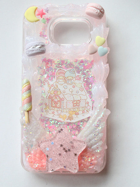 (Ready To Ship) Clear Whip Frame Decoden Samsung Galaxy S6/Little Twin Stars Ginger Bread Framed Glitter Liquid Phone case