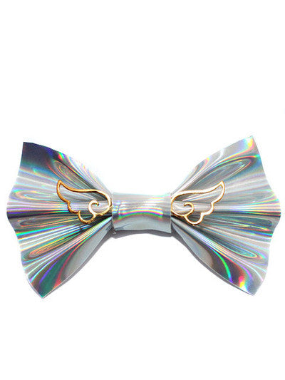 Faux Leather Holographic Hair Bow With Chibi Wings