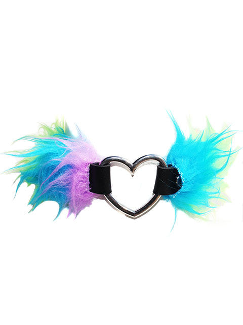 Faux Fur Rainbow Heart Choker