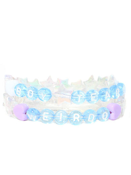 Cheeky Blue Letter Beaded Bracelets