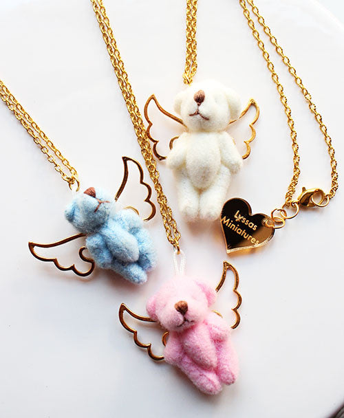 Kawaii Teddy Bear Plush Charm Necklace