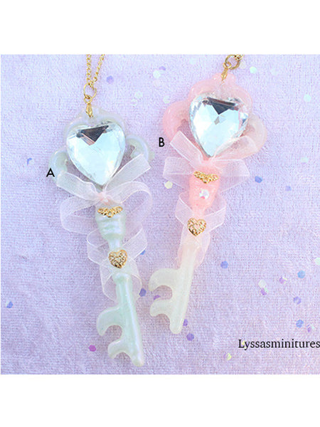 Crystal Heart Key Wand Necklace