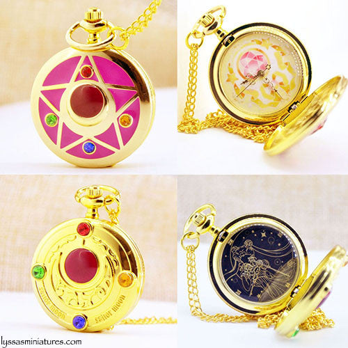 SailorMoon Gold Pocket Watch Necklace