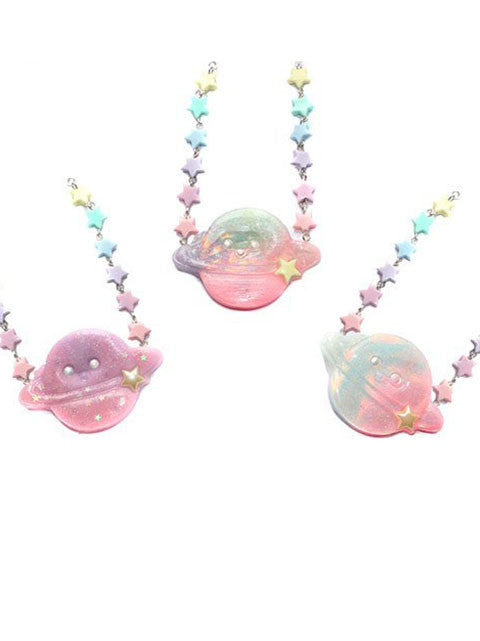 Pastel Kawaii Magical Chibi Moon Necklace Pendant