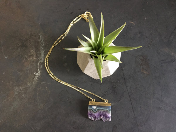 BALANCE Gift Set - Amethyst Pendant Necklace - Concrete Dodecahedron Planter - February Birthstone