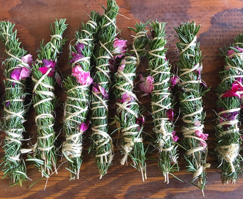 Handmade Rosemary Smudge Stick with Rose Petals - Smudging - Cleansing