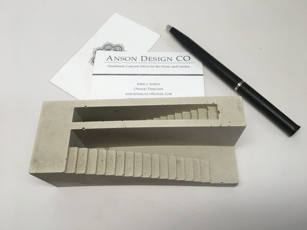 Chand Baori Business Card Holder - Concrete - Pen Holder - Office Decor