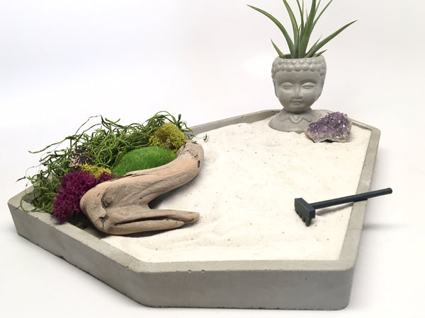 Sierra Zen Garden - Concrete Zen Garden - Home Decor - Office Decor