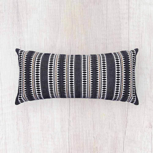 Etoie Cushion, Black And Ivory- 12 x 30 Inches