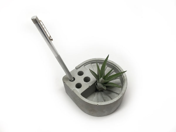 Concrete Spiral Stair Pen Holder - Desk Organization - Air Plant Holder - Architectural Decor