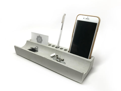 Concrete Desk Organizer - Office Storage - Cardholder - Phone Holder