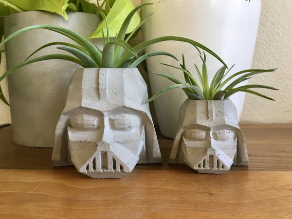 Large Darth Vader Planter - Concrete Star Wars Planter - Office and Bathroom Storage