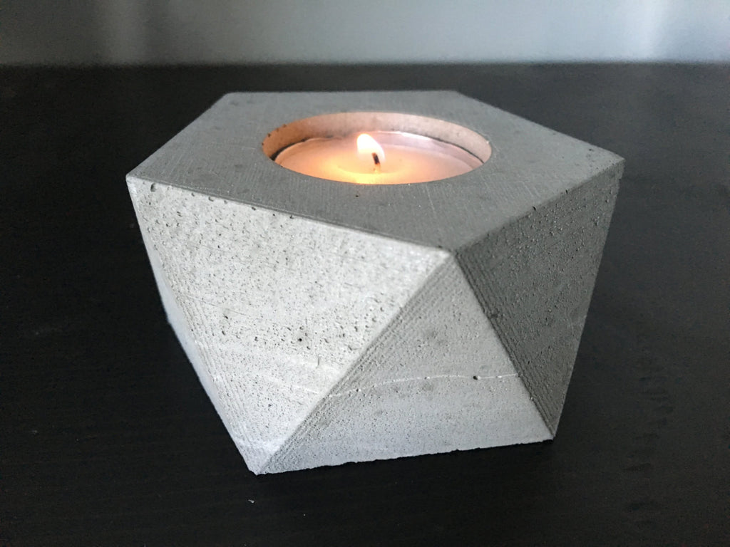 Medium Concrete Geometric Tealight Holder Anson Design Co