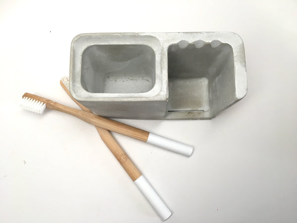 Concrete Toothbrush and Toothpaste Holder - Bathroom Decor