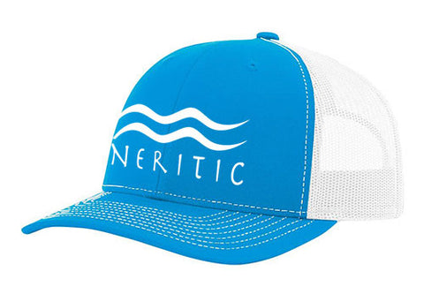 Cyan Blue & White Snapback Hat