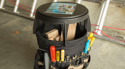 The Original Bucket Stool™ pictured with a tool caddy for projects. Click to see projects solutions page.