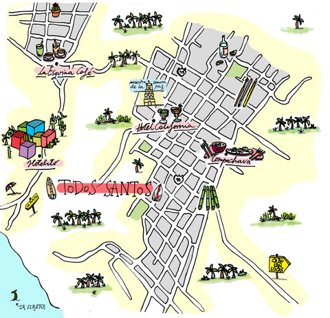todos santos illustrated map