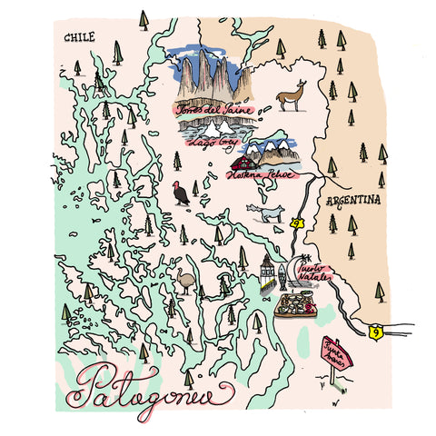 patagonia illustrated map