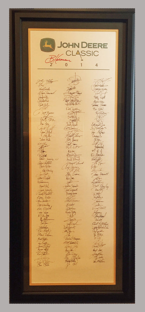 2014 John Deere Classic Full Field Parchment, signed by champion Brian Harman