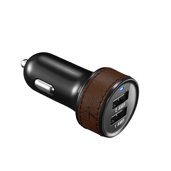 Penguin, Dual Port Car Charger, LEATHER TEXTURE - BLACKNEON