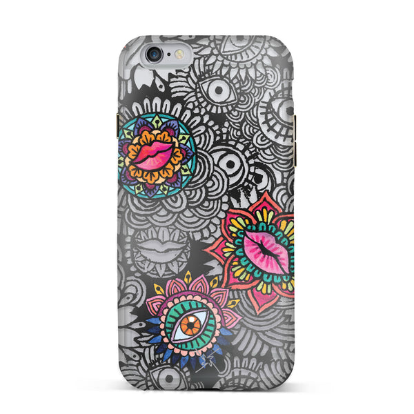 Nicole Miller, iPhone 6 & 6S Case, EYES AND LIPS - BLACKNEON
