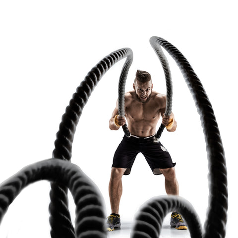 TKO, , TKO Extreme Battle Rope for Intense Workout - Crossfit, Gym, Boxing, More - 18 Ft or 40 Ft (18) - BLACKNEON