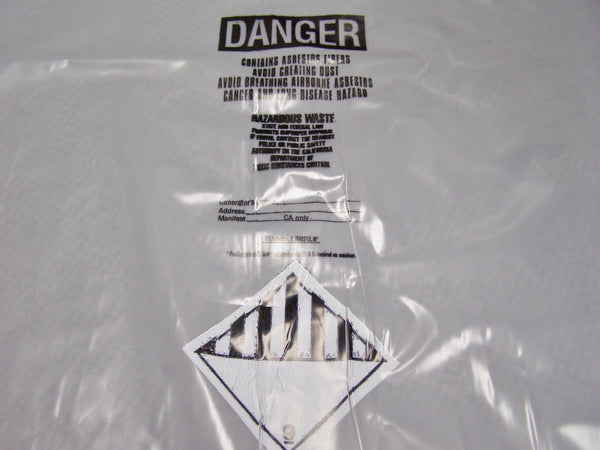 trash bag with asbestos warning