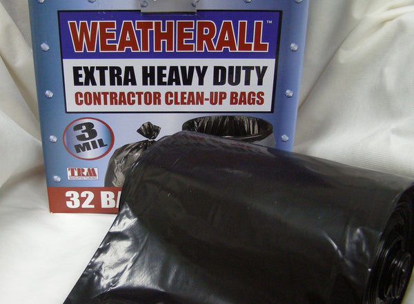 black contractors poly trash bag