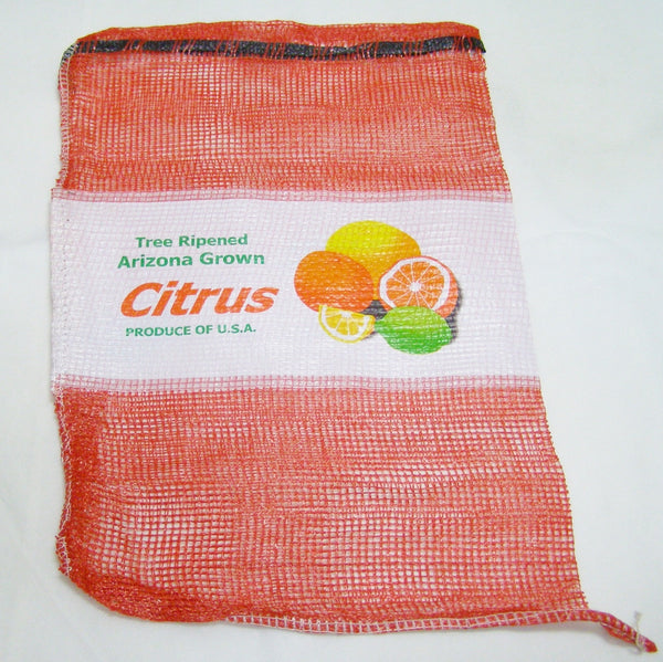 printed red mesh bag for citrus