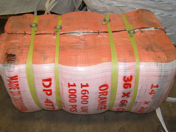 bale of orange barricade bags