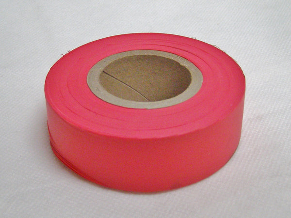 Fluorescent red surveyors tape