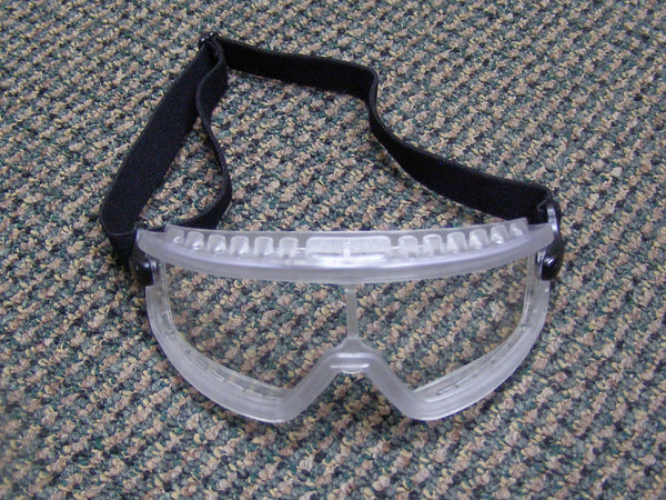box of curved clear safety goggles