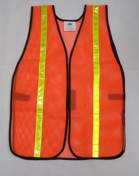 orange mesh safety vest with reflective stripe
