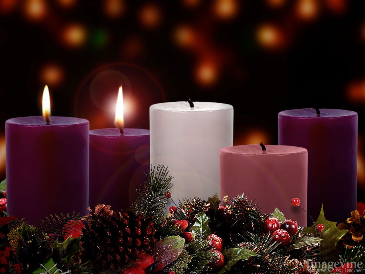 Image result for image of advent wreath two candle lit