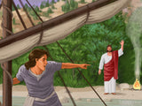 easter illustration jesus on beach peter in boat he is risen