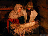 manger scene with mary joseph and jesus